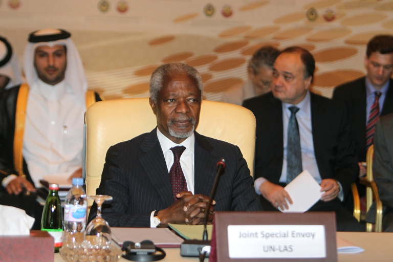 <p>Kofi Annan, UN-Arab League envoy to Syria, attends an Arab ministerial committee meeting in Doha to discuss the Syrian crisis on June 2, 2012. Qatar urged Annan to set a timeframe for his Syria peace mission, and asked the UN Security Council to apply Chapter VII which permits military intervention.</p>