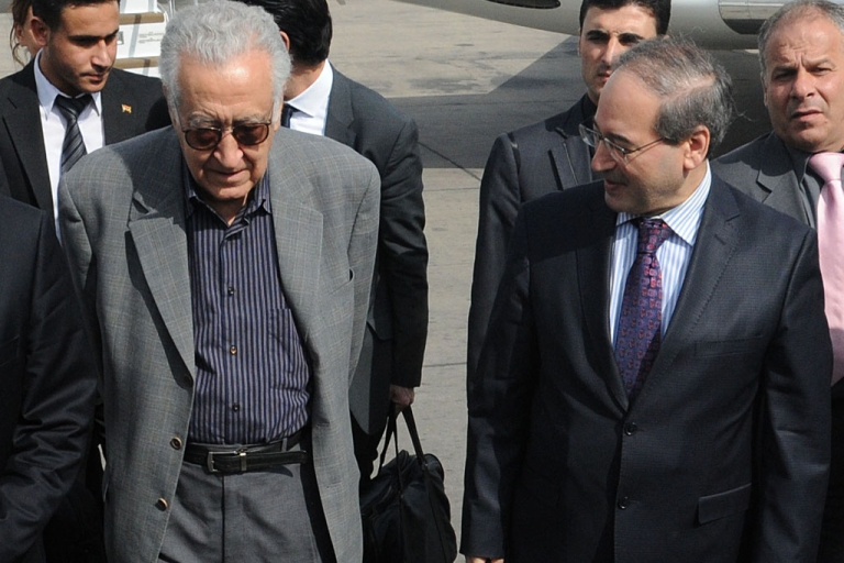 <p>Syrian Deputy Foreign Minister Faisal Meqdad, right, welcomes international peace envoy Lakhdar Brahimi to Damascus airport on October 19, 2012. Brahimi bids to secure a ceasefire in Syria's 19-month conflict following his regional tour to countries that play influential roles in the crisis.</p>