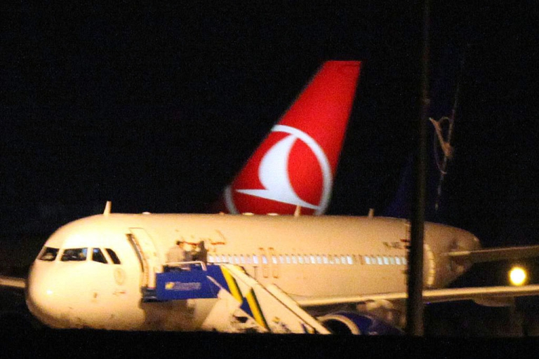 <p>A Syrian passenger plane is seen after it was forced to land at Ankara airport on October 10, 2012. A Syrian passenger plane was forced to land in Ankara on Wednesday evening on suspicions that it was carrying weapons, Anatolia news agency reported citing officials.</p>