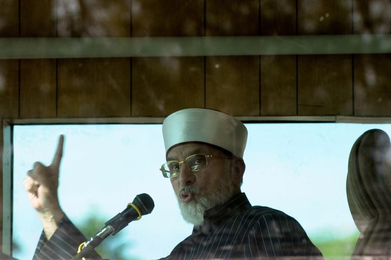 <p>Pakistani cleric Tahirul Qadri chants during a protest rally in Islamabad on Jan. 15, 2013.</p>