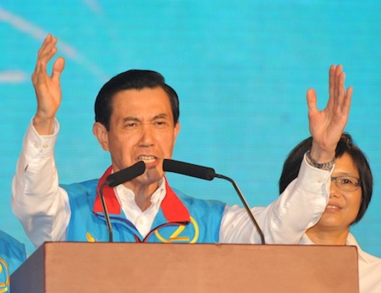 <p>Taiwan's President Ma Ying-jeou gestures during a mass rally held in Taipei on November 21, 2010.</p>