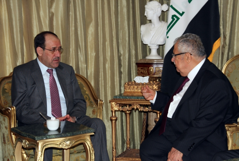<p>Iraqi Prime Minister Nuri al-Maliki meets with Iraqi President Jalal Talabani (R) at the latter's home, north of the Kurdish city of Sulaimaniyah to discuss differences between the Baghdad government and the Kurdistan Regional Government on September 19, 2012.</p>