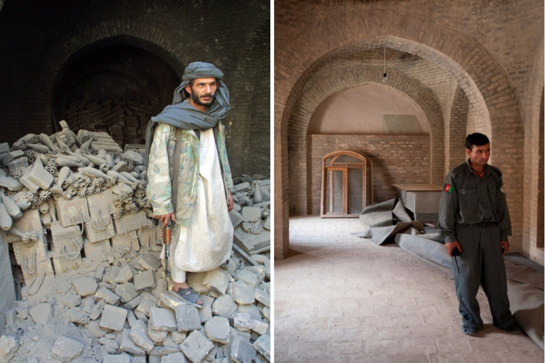 <p>A Northern Alliance soldier (mujahedeen) stands in front of a mortar arsenal left behind by the Taliban militia in 2001 (left), and an Afghan policeman standing in 2009 in the same spot where the Taliban arsenal used to be (right).</p>
