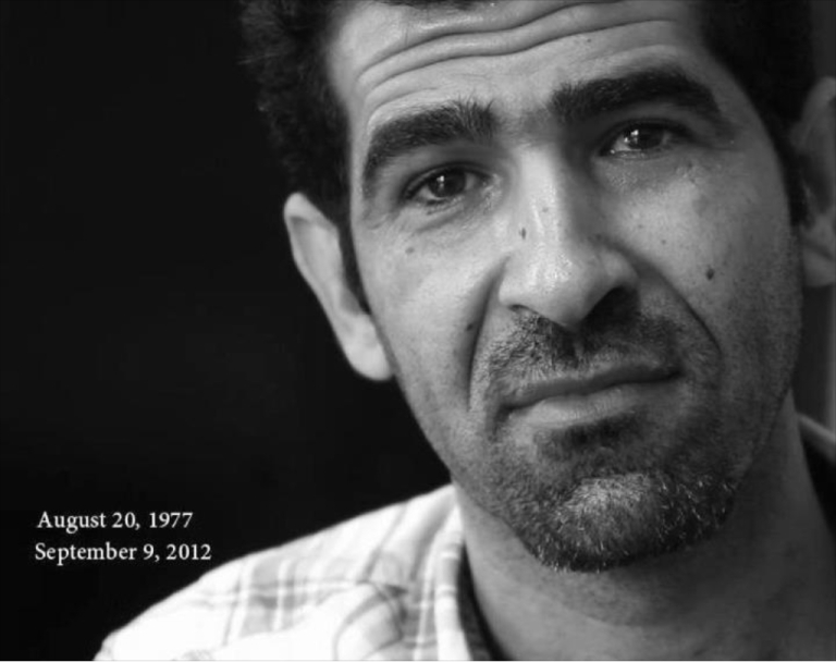 <p>An image mourning the death of Syrian filmmaker Tamer al-Awam.</p>