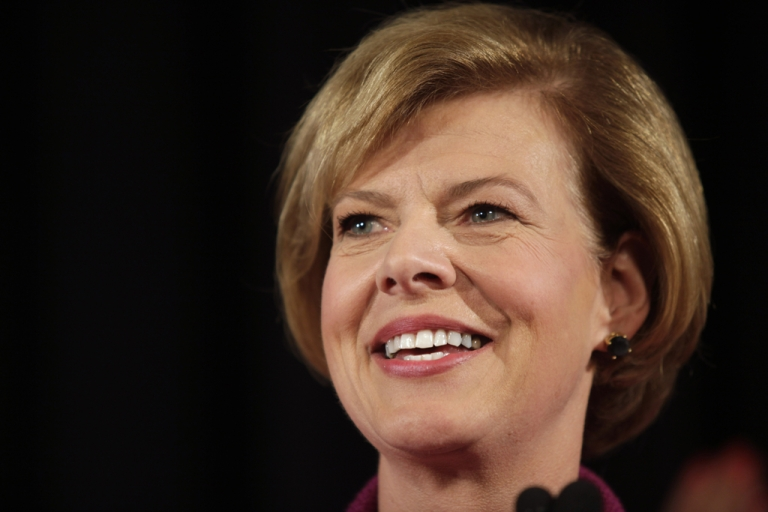 <p>US Senate candidate US Rep. Tammy Baldwin (D-WI) celebrates her victory over Republican candidate Tommy Thompson on election night on November 6, 2012 in Madison, Wisconsin.</p>