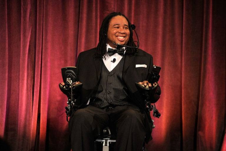 <p>Eric LeGrand speaks at Christopher &amp; Dana Reeve Foundation's A Magical Evening Gala in New York on Nov. 30, 2011. The NFL's Tampa Bay Bucs signed LeGrand, who was paralyzed during a football game in 2010.</p>