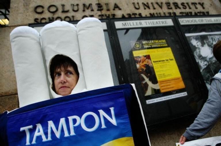 <p>People for the Ethical Treatment of Animals activist Jen Huls stands dressed as a tampon outside of Columbia University during a protest October 19, 2004 in New York. PETA staged a protest alleging that Columbia researchers are conducting cruel menstrual tests on primates and subjecting them to painful conditions.</p>