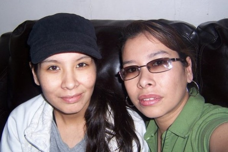 <p>Tanya Nepinak (left) with her sister.</p>