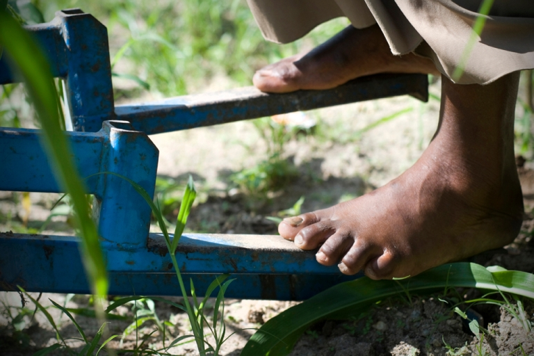 <p>The KickStart pump can irrigate up to 2 acres with a simple foot-pedal system. The pump, which requires two people to operate, can draw water up from 23 feet and has a total pumping head of 46 feet. It costs around $112.</p>