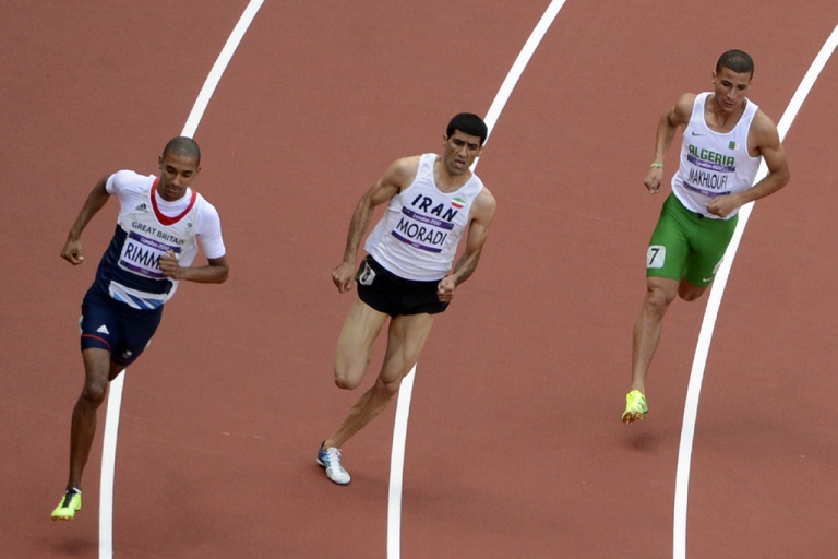 <p>(From left) Britain's Michael Rimmer, Iran's Sajad Moradi and Algeria's Taoufik Makhloufi compete in the men's 800m heats at the London 2012 Olympic Games on Aug. 6, 2012.</p>