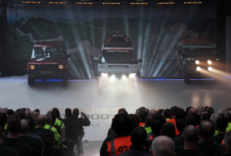 <p>The millionth Land Rover Discovery (Center) arrives on stage at the Jaguar Land Rover factory on February 29, 2012 in Solihull, England. On Tuesday, Tata Motors said its net profit more than doubled during the past quarter on strong sales from Jaguar Land Rover. But analysts downgraded the company on the basis of flagging sales of Tata branded vehicles.</p>