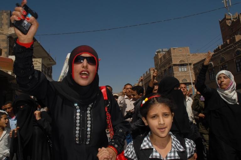 <p>Yemeni activist Tawakkol Karman joins a protest calling for the ouster of Yemen's President Ali Abdullah Saleh in Sanaa on Jen. 29, 2011.</p>