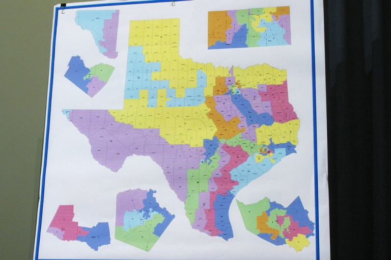 <p>A Texas congressional redistricting map is pictured in Austin, Texas.</p>