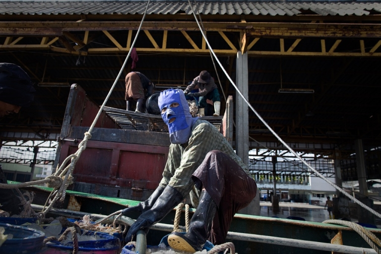<p>Cambodian and Burmese migrants unload fish off a boat February 25, 2010 in Mahachai,Thailand. Migrant workers, mostly Burmese, are running into more difficult times as many face deportation as an approaching deadline set by the Thai government nears forcing foreign workers to go through a nationality verification process.</p>