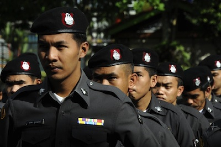 <p>Thai policemen in the southern province of Narathiwat on March 15, 2012.</p>