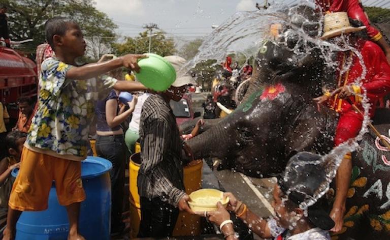 <p>AYUTTHAYA, THAILAND: A Thai boy throws water on elephants during Songkran in 2008.</p>