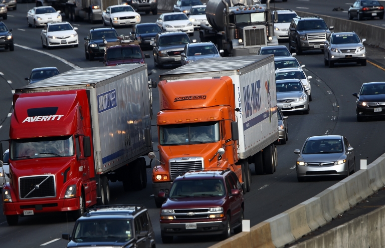 <p>Traffic converges on highway I-495 South in McLean, Va., on Nov. 23, 2011, one of the busiest travel days of the year.</p>