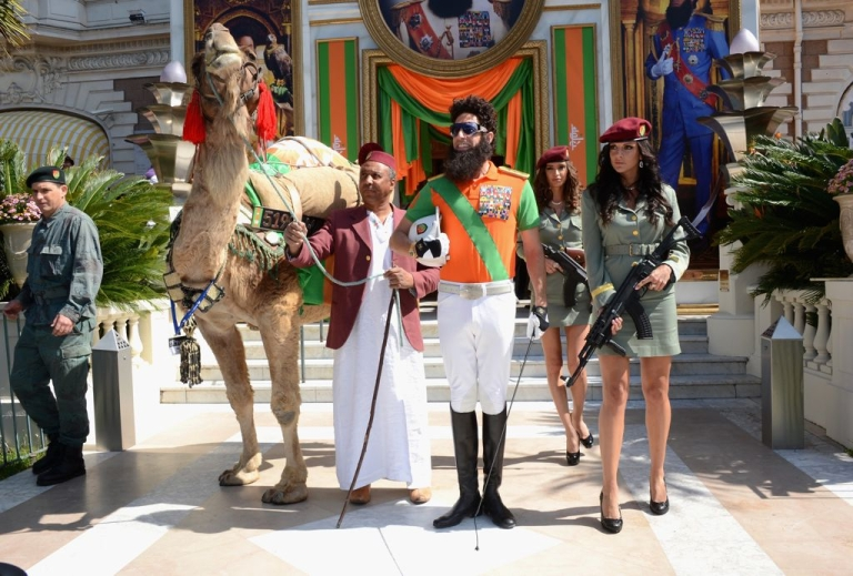 <p>Sacha Baron Cohen in character as Admiral General Omar Aladeen, at the 2012 Cannes Film Festival in France.</p>