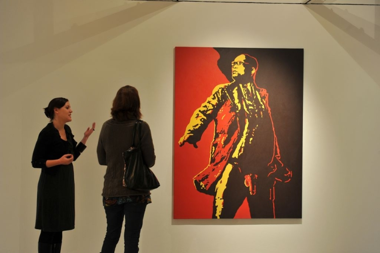 <p>Brett Murray's painting of Jacob Zuma, 'The Spear,' on display in Johannesburg prior to its defacement.</p>