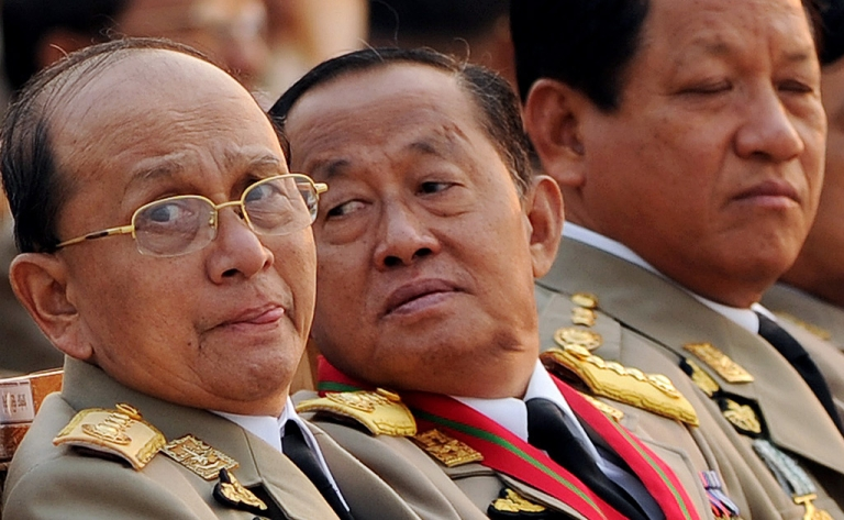 <p>A file picture taken on March 27, 2010 shows Thein Sein, left, sitting along with some of the country's senior leaders ahead of the Armed Forces Day parade in the capital Naypyidaw.</p>