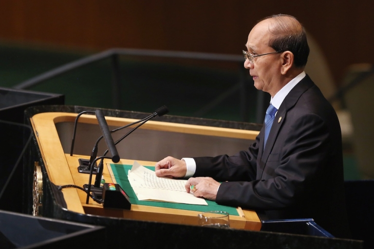 <p>Thein Sein, President of the Republic of the Union of Myanmar, addresses the UN General Assembly on September 27, 2012 in New York City.</p>