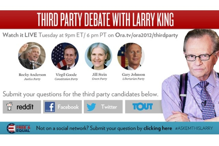 <p>The third party candidates will be going at it Tuesday night, hosted by Larry King.</p>