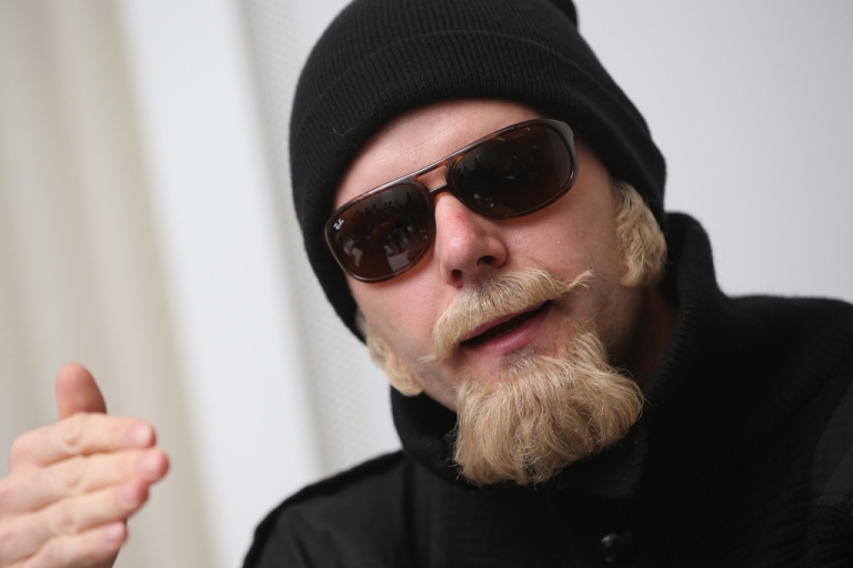 <p>Thomas Kuban, which is an alias, wears a disguise as he speaks to the Foreign Journalists' Association on Nov. 30, 2012 in Berlin.</p>