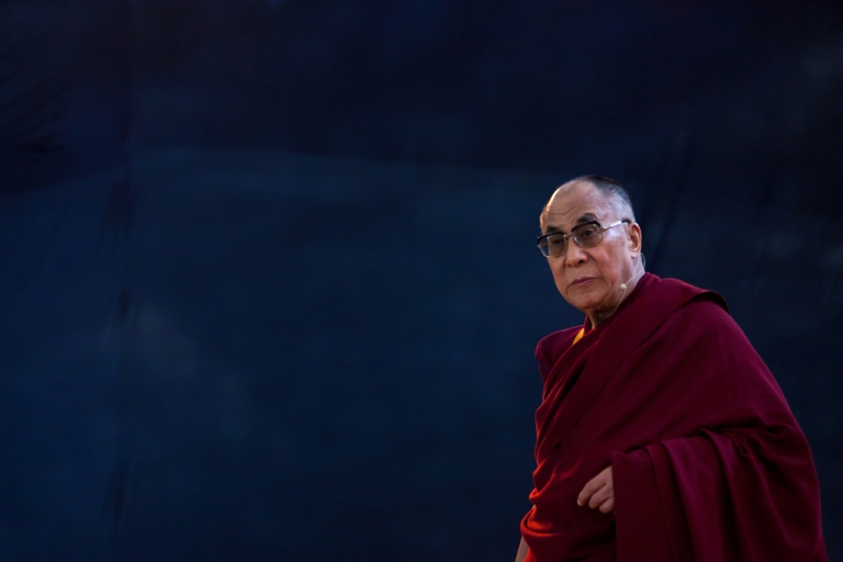 <p>Tibet's exiled spiritual leader Tenzin Gyatso, the 14th Dalai Lama at an open public talk in Sao Paulo, Brazil.</p>