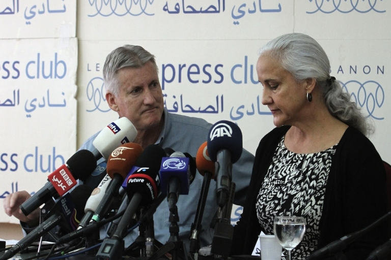 <p>Mark (L) and Debra (R) Tice, the parents of Austin Tice, an American journalist who has been missing in Syria since August, speak during a press conference at the Press Club in Beirut on November 12, 2012.</p>