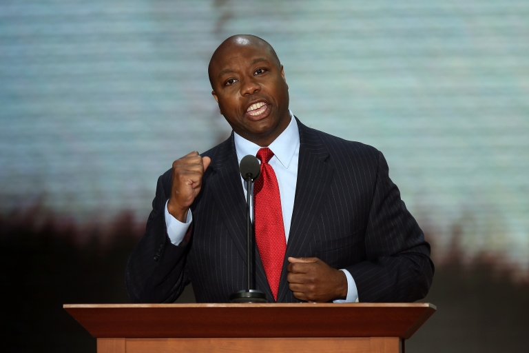 <p>US Rep. Tim Scott (R-SC) during the Republican National Convention in Tampa, Fla., on Aug. 28, 2012.</p>