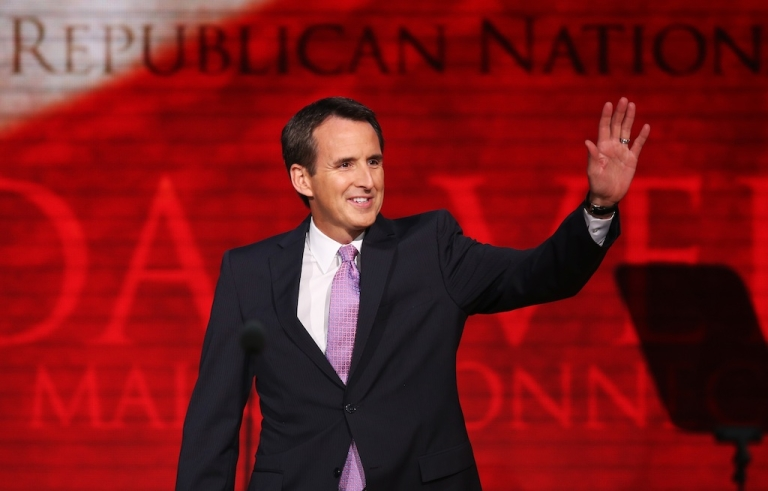 <p>Former Minnesota Gov. Tim Pawlenty waves as takes the stage during the third day of the Republican National Convention. He is stepping down from his role as co-chair of Romney's campaign to be CEO of a major financial lobbying group.</p>