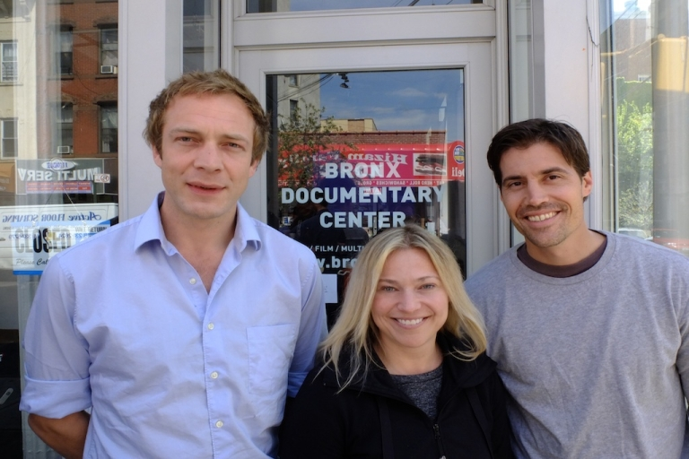<p>GlobalPost correspondents Tim Grucza, Beth Murphy and Jim Foley pose together at the first three-day session of RISC at the Bronx Documentary Center in New York.</p>