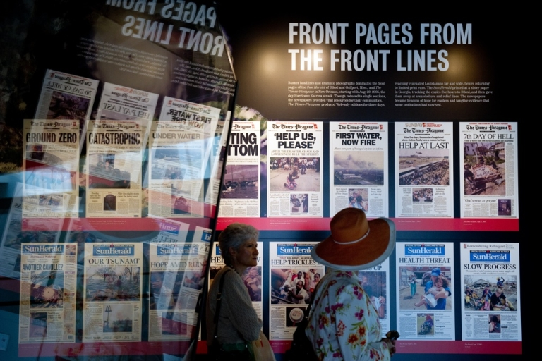 <p>Front pages from the Times-Picayune newspaper in New Orleans and the Sun Herald of Biloxi and Gulfort, Miss., in the 'Covering Katrina' exhibit at the Newseum in Washington, DC, on Aug. 26, 2010.</p>
