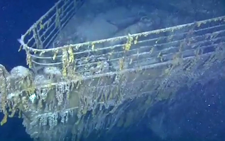 <p>A still image taken from a YouTube video produced by Woods Hole Oceanographic Institution's Advanced Imaging and Visualization Laboratory team shows the bow of the RMS Titanic in 2010.</p>