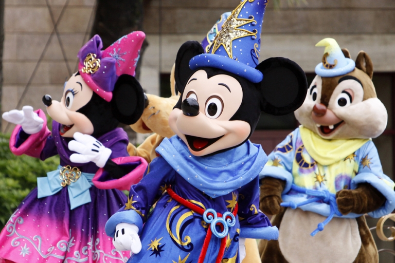 <p>Mickey Mouse and Disney characters greet guests to celebrate the 10th anniversary of Tokyo DisneySea at Urayasu city, suburban Tokyo on September 4, 2011. Tokyo Disney said same-sex couples would be welcome to hold their fairytale weddings at the resorts, even though Japan does not recognize same-sex marriages.</p>