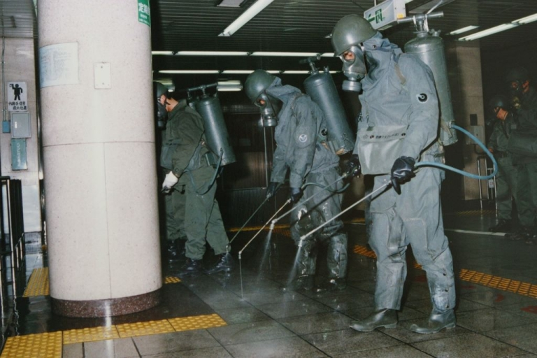 <p>The Aum Shinrikyo cult's 1995 attack on the Tokyo subway left 13 people dead and 6,000 sick. Here, authorities rinse lethal nerve gas off train platforms.</p>