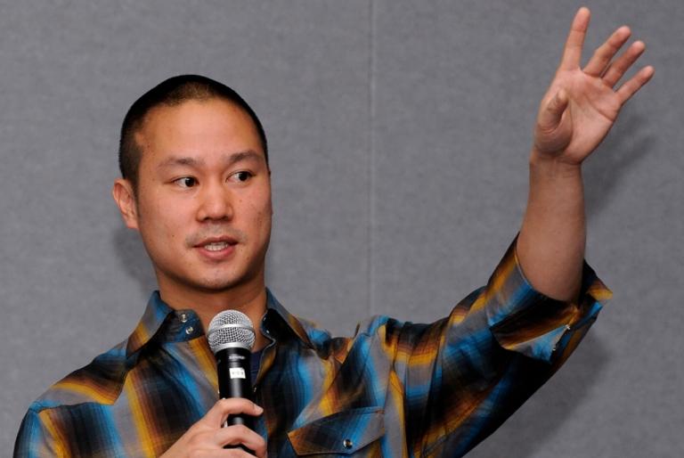 <p>Zappos CEO Tony Hsieh delivers a keynote presentation Feb. 17, 2010 in Las Vegas, Nevada.</p>