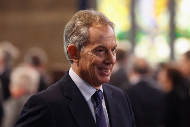 <p>Former British Prime Minister Tony Blair leaves after Queen Elizabeth II addressed both Houses of Parliament in Westminster Hall on March 20, 2012 in London, England.</p>