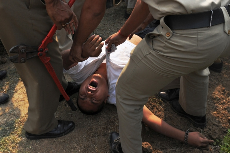 <p>A pro-Tibet protester in New Delhi, after he tried to set himself on fire.</p>