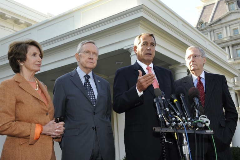 <p>House Minority Leader Nancy Pelosi (D-CA), Senate Majority Leader Harry Reid (D-NV), Speaker of the House John Boehner (R-OH), and Senate Minority Leader Mitch McConnell (R-KY) speak to the media at the White House on November 16, 2012 in Washington, DC. Congress is back in session, faced with the pressing issue of the fiscal cliff.</p>