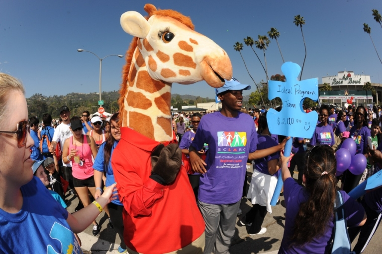 <p>Geoffrey from Toys R Us greets participants of the 10th Annual Walk Now For Autism Speaks at the Rose Bowl on April 21, 2011 in Pasadena, California.</p>