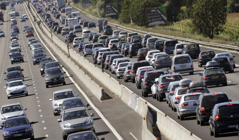 <p>This file photograph shows a traffic jam in France.</p>