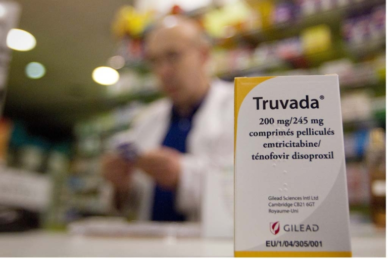 <p>A picture taken on May 11, 2012 in a pharmacy in Paris shows a box of antiretroviral drug Truvada.</p>