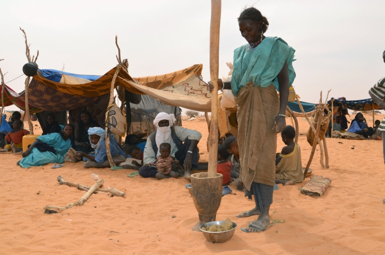 <p>A woman prepares a meal at a Malian refugee camp in Chinegodar, western Niger, close to the Malian border.</p>