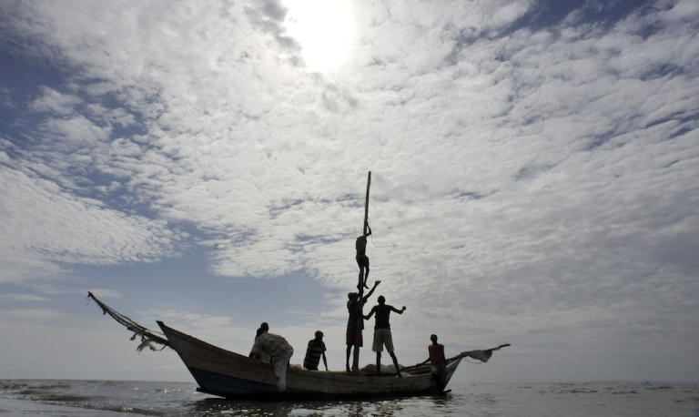 <p>Fishermen in Lake Turkana head out for their daily catch on August 10, 2011.</p>