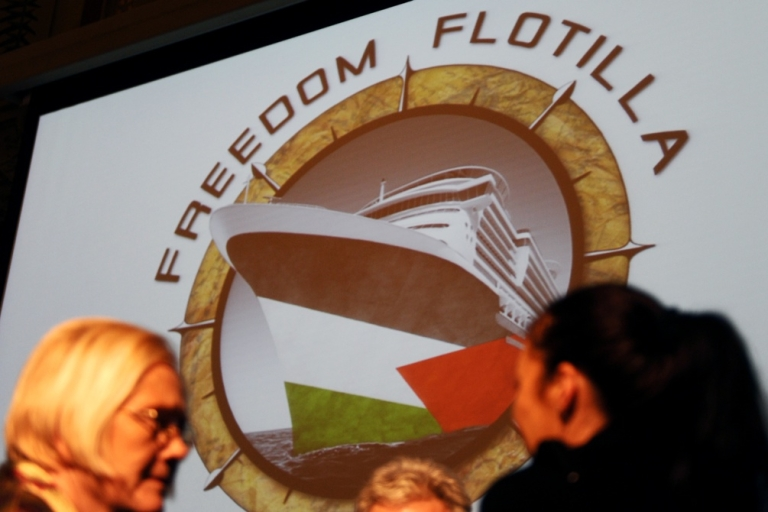 <p>Activists of the new Gaza flotilla called 'Freedom Flotilla Two' talk prior to giving a press conference on Feb. 7, 2011 in Madrid.</p>