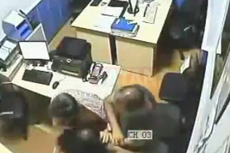 <p>A screen grab from a video recorded in July 2011 in a police station in Turkey.  The video shows plainclothes Turkish police officers slapping and beating a female detainee.</p>