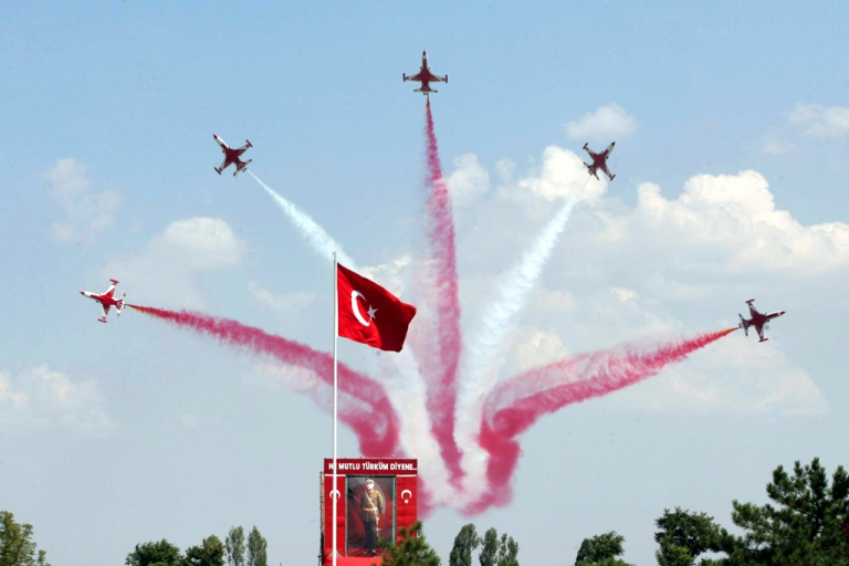 <p>Turkish jets parade during the Victory Day celebrations, in Ankara on August 30, 2011. An F-4 Phantom jet went missing on June 22, 2012 over the Mediterranean Sea near Turkey's border with Syria. It is unclear whether it crashed or was shot down.</p>