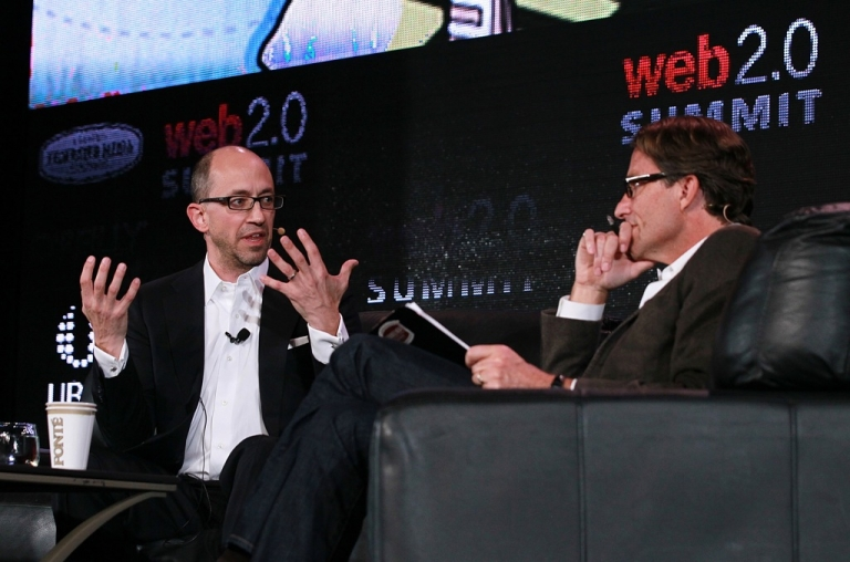 <p>Twitter CEO Dick Costolo (L) speaks in conversation with John Battelle during the 2011 Web 2.0 Summit on October 17, 2011 in San Francisco, California. Costolo, one of the many CEOs whos job is on the line, must prove to investors that Twitter can generate new revenue streams</p>