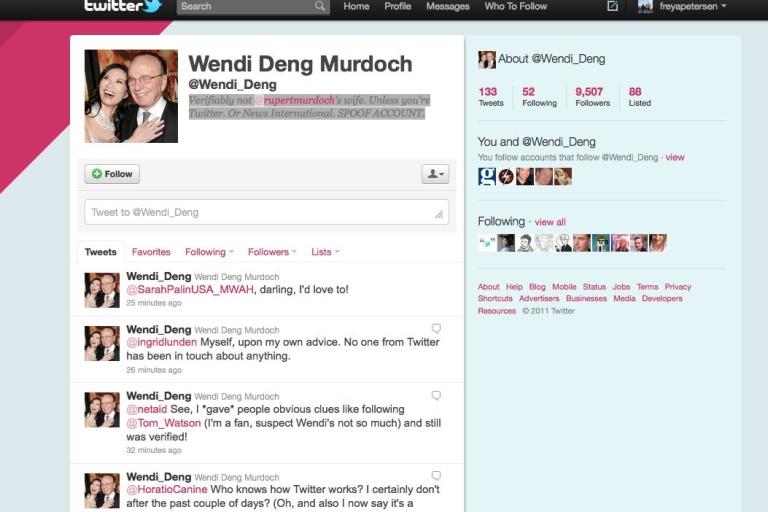 <p>A screenshot of the fake Wendi Deng Murdoch Twitter account.</p>